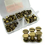 #7: RuiLing 90 Sets Bronze Chicago Screws Assorted Kit Screw Posts Metal Accessories Nail Rivet Chicago Button for DIY Leather Decoration Bookbinding Slotted Flat Head Stud Screw 5x6/10/12mm