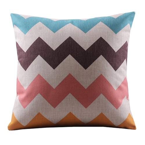 """Price comparison product image Create For-Life Cotton Linen Decorative Pillowcase Throw Pillow Cushion Cover Square 18"""" Retro Bold Waves"""