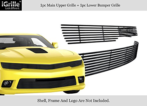 APS Compatible with 2014-2015 Chevy Camaro LS LT W RS Package Phantom Style Black Billet Grille -