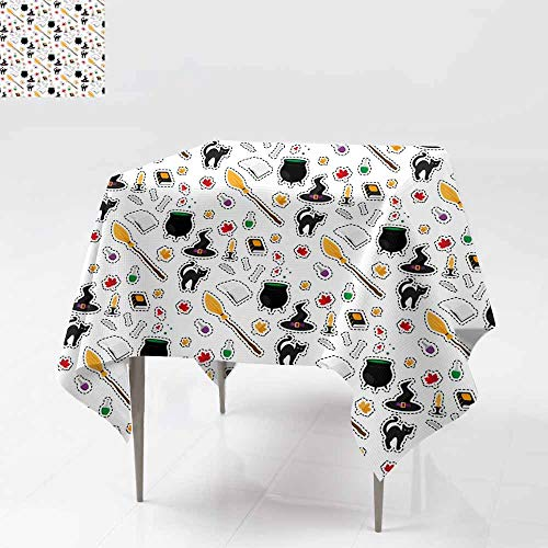 Fbdace Square Table Cloth,Halloween Fashion Patch Badges Seamless Pattern Stain Resistant, Washable 54x54 Inch