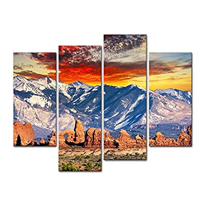 4 Pieces Modern Canvas Painting Wall Art The Picture For Home Decoration Red Hoodoos And Cool Rocky Mountains In Arches National Park Utah Landscape Mountain Print On Canvas Giclee Artwork For Wall Decor