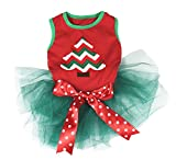 Petitebella Puppy Clothes Dress Christmas Chevron Xmas Tree Red Teal Green Rhinestone Bow (Large)