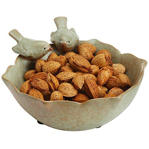 Decorative 2 Birds Garden Design Ceramic Green Serving Bowl / Jewelry Tray / Candy & Nut Dish - MyGift