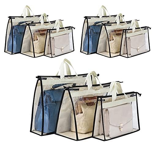 Interesse 9 Packs Purse Storage Organizer, Handbag Storage for Closet, Dust Bag for Handbag, Purse Cover Hanging Closet Organizer with Zipper and Handles