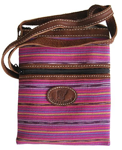 Fabric and Leather Lightweight Passport Bag Certified Fair Trade - Each Unique