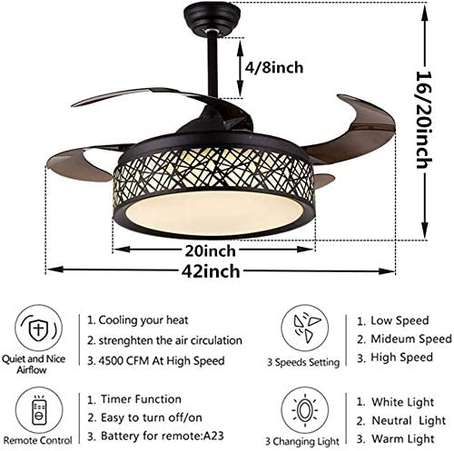 Panda Lighting 42 Modern Black Ceiling Fan Light LED Remote Control 3-Color 3-Speed Birdcage Fan Chandelier Retractable Blade Mute Motor Indoor Pendant Fan Lamp for Bedroom Living Room Dining Room