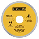 DEWALT DW4729 4-Inch Continuous Rim Diamond Saw Blade with 7/8-Inch Arbor for Tile