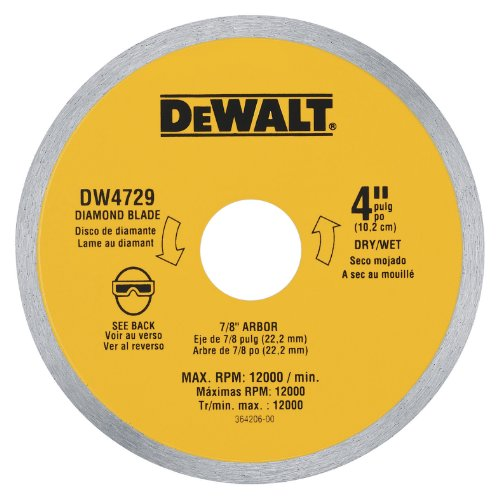 028874047297 - DEWALT DW4729 4-Inch Continuous Rim Diamond Saw Blade with 7/8-Inch Arbor for Tile carousel main 0