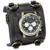 JewelryWe Fathers Day Gifts Hip-hop Gothic Leathernk Style Mens Wrist Watch 74MM Wide Black Leather Cuff Watches