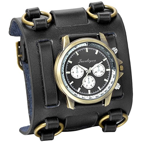 JewelryWe Hip-hop Gothic Leathernk Style Mens Wrist Watch 74MM Wide Black Leather Cuff Watches (Cuff Watch Leather Steampunk)