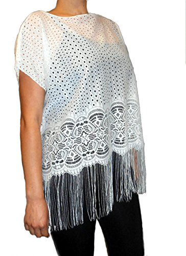 Love My Seamless Womens Ladies 100% Viscose Cap Sleeves One Size Fashion Blouse Top With Fringe