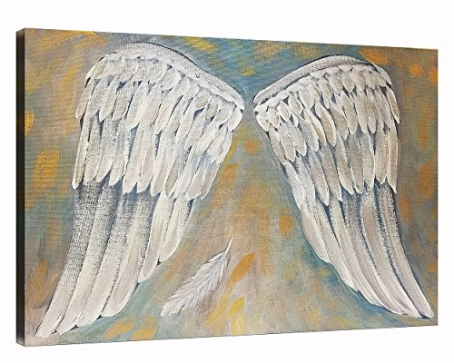 Angels Stretched Canvas - NAN Wind Angel Wings Painting White Art Artwork Wall Decor Modern Stretched and Framed Oil Painting Canvas The Picture for Living Room Decoration