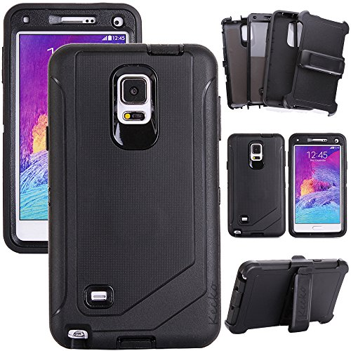 Kecko®3-layer High Impact Defender Shockproof Shatter Resistant Military Duty Body Armor Rugged Hybrid Silicon Protective Case w/ Built-in Screen Protector&Belt Clips for Samsung Galaxy Note 4