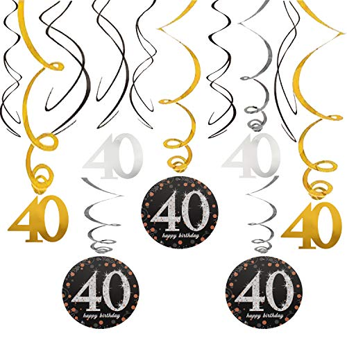 40th Happy Birthday Swirls Foil Gold Black Silver Streamers Party Hanging Decoration Cheers to 40 Years Old Bday Anniversary - 40'' x 12 pcs.