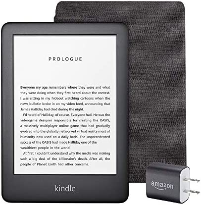 Kindle Essentials Bundle including All-new Kindle, now with a built-in front light, Black - with Special Offers, Kindle Fabric Cover – Charcoal, and Power Adapter