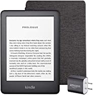 Kindle Essentials Bundle including Kindle, now with a built-in front light, Black - Ad-Supported, Kindle Fabri