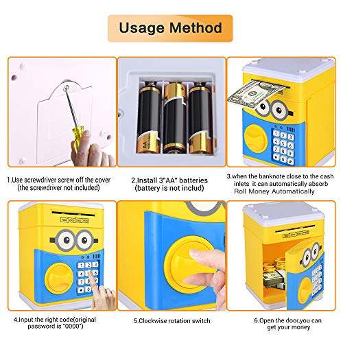 RICISUNG Trustworthy Cartoon Electronic Piggy Bank,ATM Password Piggy Bank Cash Coin Can Auto Scroll Paper Money for Children Gift Toy (Yellow) by RICISUNG (Image #5)