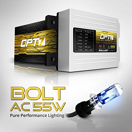 OPT7 Blitz 55w H1 High Beam HID Kit All Bulb Colors and Sizes 5X Brighter 4X Longer Life 10000K Deep Blue Xenon Light 2 Yr Warranty