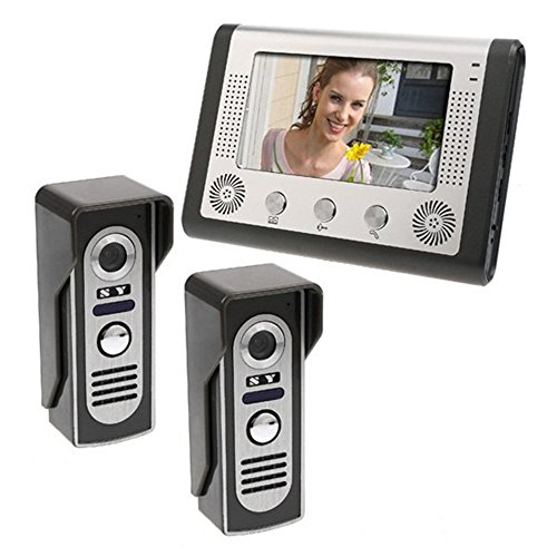 (MOUNTAINONE 7 inch LCD Home Security Video Door Phone Intercom Kit 2 Cameras 1 Monitor)