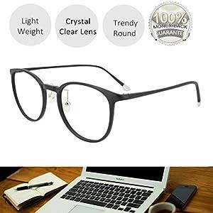 Reading Glasses 1.25 Black, Round Glasses, Eyeglasses Frames for Women, Light Weight Glasses