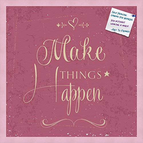 PinPix Decorative pin Cork Bulletin Board Made from Canvas, Make Things Happen Fuschia Print Printed at 24x24 Inches and Framed in Baby Pink Stain on Beech (PinPix-921)