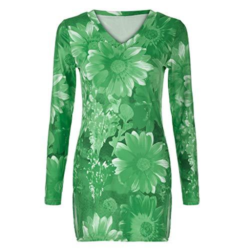 - MOGOV Women Plus Size Long Sleeve Rendering Print V-Neck Print Pullover Tops Shirt Green