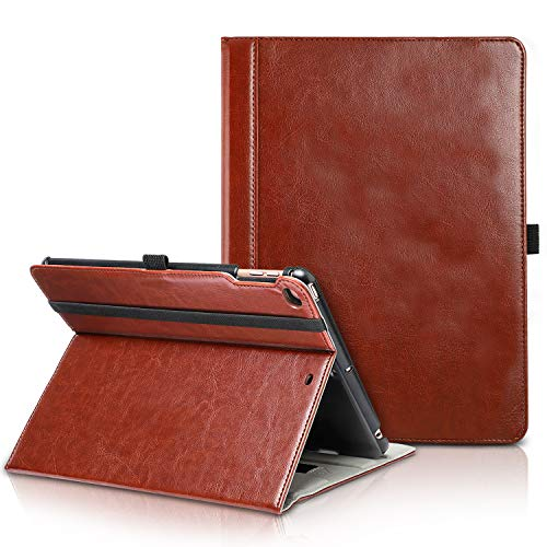 TIRIN New iPad 9.7 2018/2017 Case-Smart Stand Magnetic Premium Leather Case Cover with Auto Wake & Sleep, Front Pocket and Pen Holder for New iPad 9.7 Inch 2018/2017,iPad Air,iPad Air 2,Brown ()