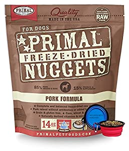 Primal Pet Food - Freeze Dried Dog Food 14-ounce Bag With Included Bonus Hot Spot Pet Food Bowl - Made in USA (Pork)