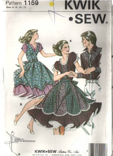 - Kwik Sew 1159 Square Dance Dress Sewing Pattern, with Under Skirt with Ruffle and Attached Shaped Circle Gored Over Skirt WIth Self TIE Belt, and V or Scoop Neckline Fitted Bodice with Gathered Tulip Sleeves