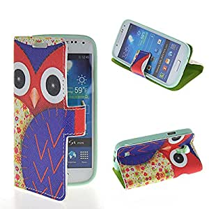 GETLAST [005] Beautiful Cartoon Owl Pattern Leather Wallet Folio Case Cover With Card Slots For Samsung Galaxy S4 mini I9190