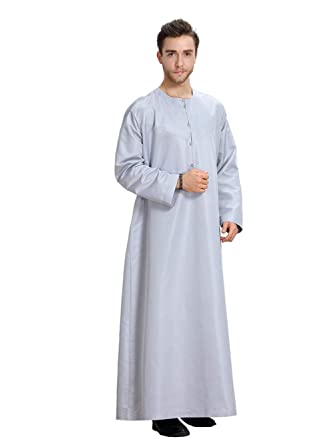 Fortuning s JDS Men Round Neck Solid Color Long Sleeve Arab Style Robe   Amazon.co.uk  Clothing 0ebe879b8