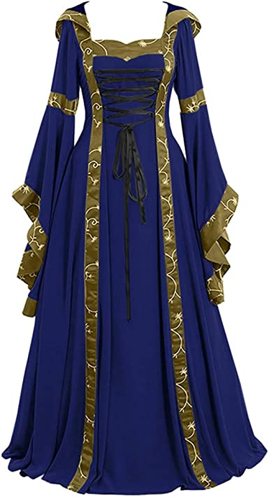 Maxi vestidos para mujer, estilo medieval, color sólido, vestido ...