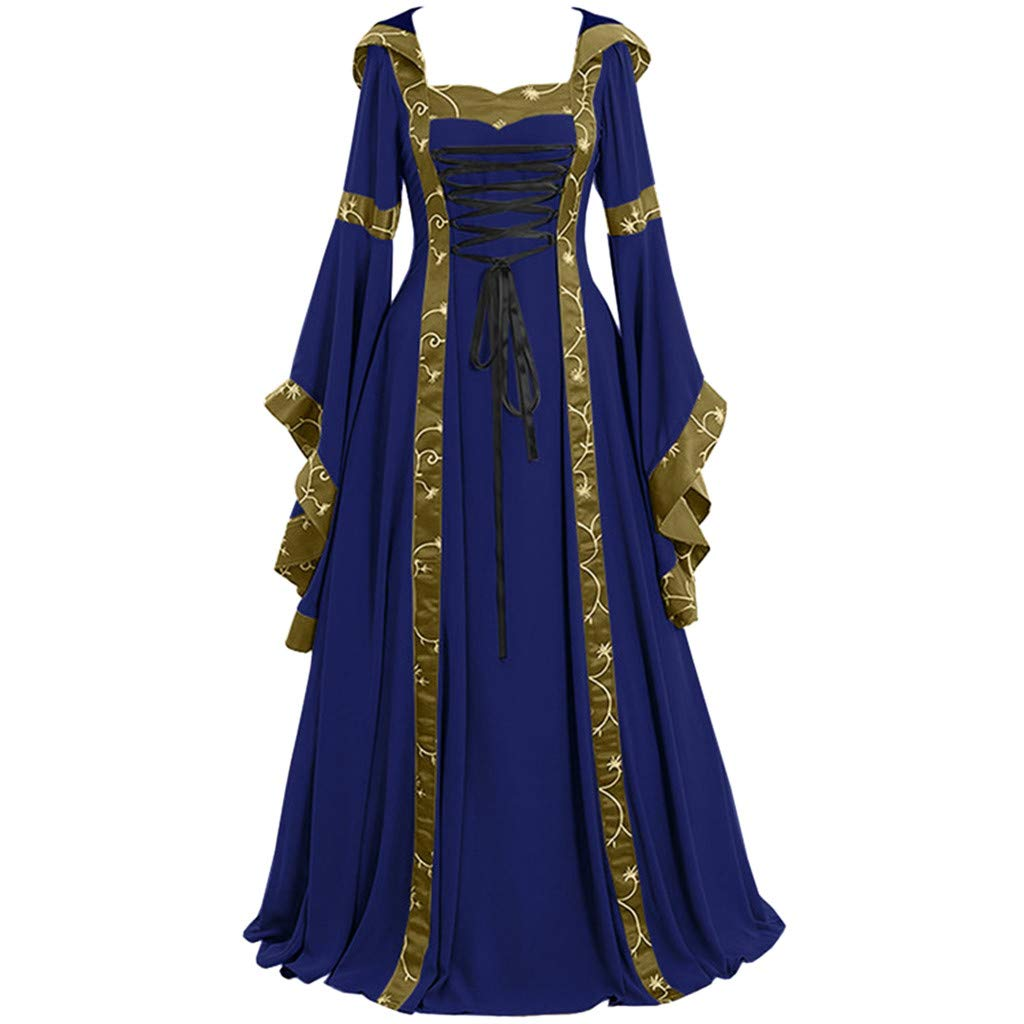 Women Medieval Dress Renaissance Lace Up Vintage Gothic Dress Floor Length Hooded Cosplay Dresses Retro (2-Blue Flare Sleeve Princess Dress, 3XL) by Hotcl