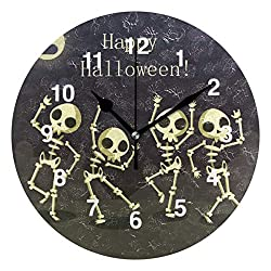 Jojogood Skeletons Dancing Wall Clock Silent Non Ticking Clock,Battery-Powered with Quartz Movement for Living Room Bedroom Home Decoration