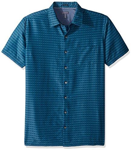 - Van Heusen Men's Size Slim Fit Air Short Sleeve Button Down Poly Rayon Print Shirt, Turquoise Yorktown Blue, 2X-Large Tall
