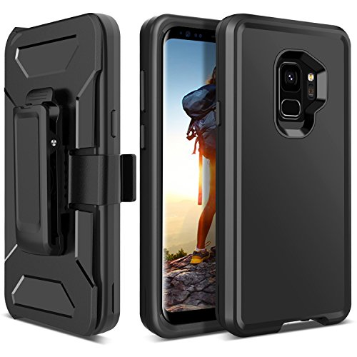 BENTOBEN Case for Galaxy S9, Shockproof Heavy Duty Full Body Protective Cover Built-in Rotating Kickstand Swivel Belt Clip Holster, 4-in-1 Hybrid Hard PC Soft Silicone Phone Case for Samsung S9, Black