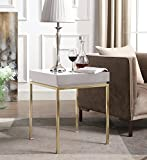 Iconic Home Cannes Nightstand Side Table Square Frame High Sheen Lacquer Finsh Top Gold Plated Metal Legs, Modern Contemporary, Beige