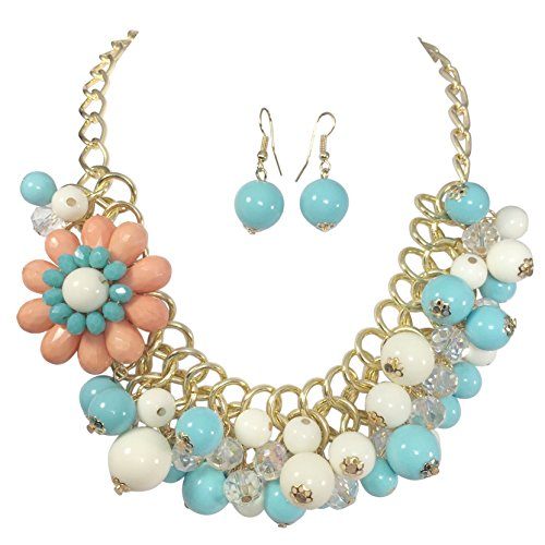 Gypsy Jewels Blue White Coral Color Bead Flower Gold Tone Statement Necklace Earrings Set