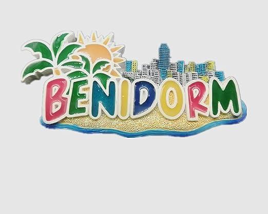 Imán para nevera 3D con vista a la playa de Benidorm, España, decoración del hogar y la cocina, imán magnético de poliresina Benidorm, para refrigerador, regalo turístico (4 unidades): Amazon.es: Hogar