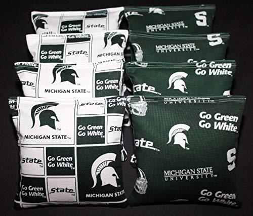 (BackYardGamesUSA 8 Cornhole BEANBAGS Made w Michigan State Unv Spartans Fabric ACA Reg Bags)
