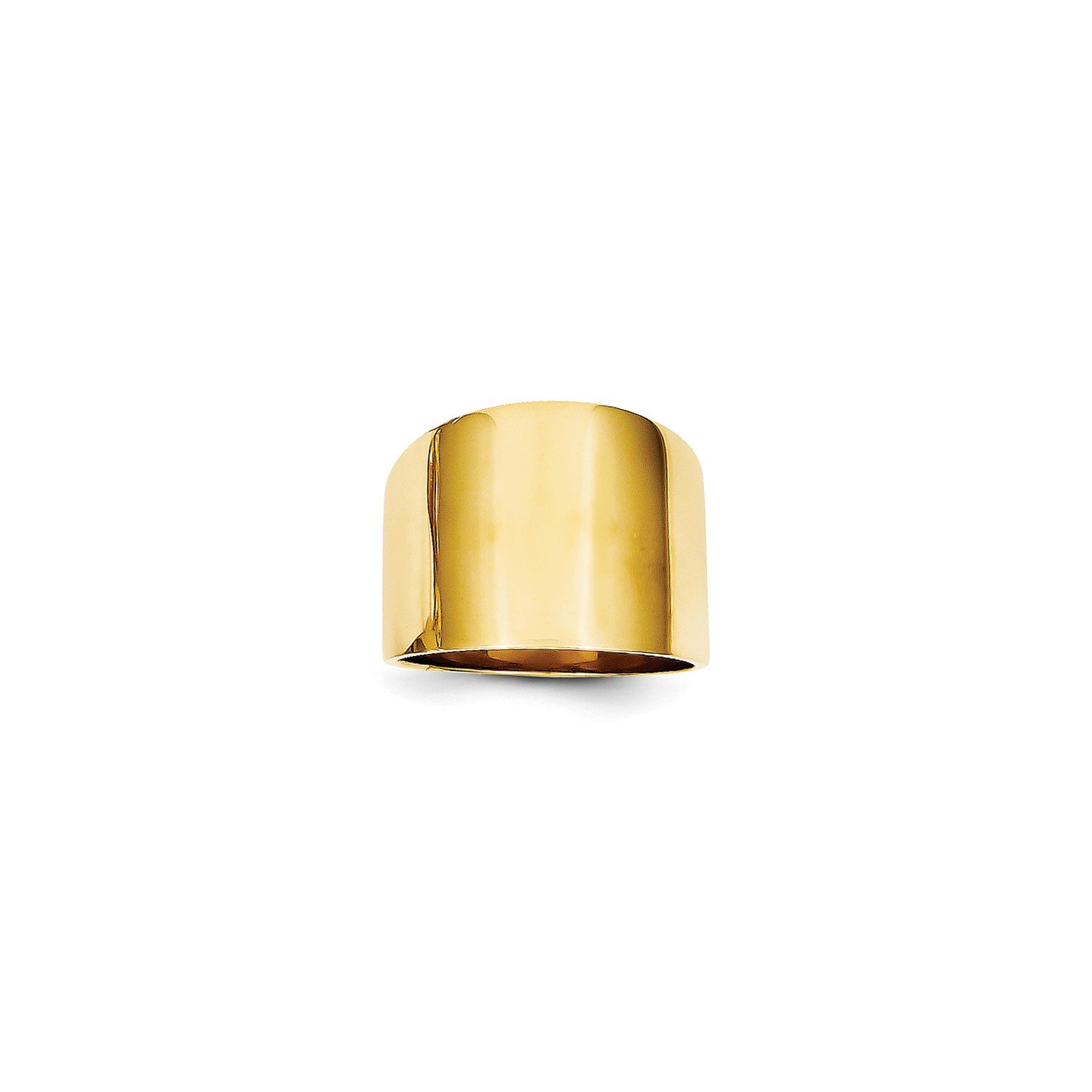 Roy Rose Jewelry 14K Yellow Gold 15mm Flat-top Tapered Cigar Band Ring ~ Size 7