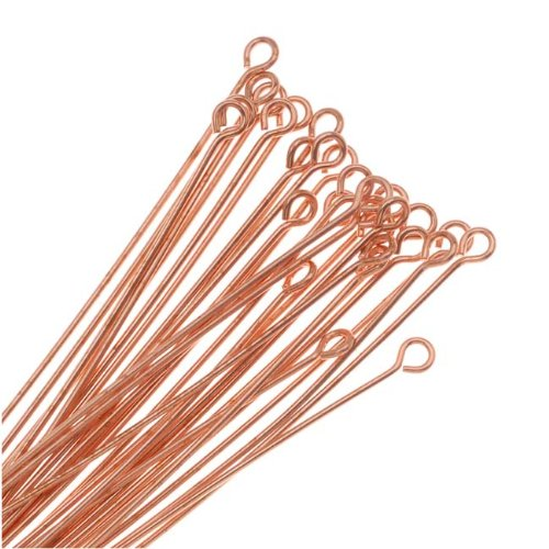 BeadaholiqueCA FHP-6224 50-Piece Real Open Eye Pins, 22-Gauge, 2-Inch, Copper 325Q-2.00