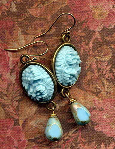 - Floral Cameo Earrings, Cameo 18 K Gold Filled earrings, Turquoise Earrings, 18 K Gold Filled ear wire Earrings, handmade by AnnaArt72