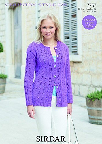 Sirdar Ladies Cardigan Knitting Pattern 7757 DK by Sirdar by Sirdar