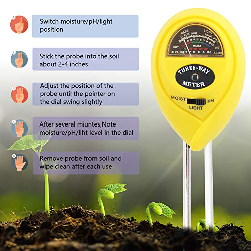 [2018 Upgraded] Soil Moisture Meter - 3 in 1 Soil Test Kit Gardening Tools PH, Light & Moisture, Plant Tester Home, Farm, Lawn, Indoor & Outdoor (No Battery Needed) by Fomei (Image #3)