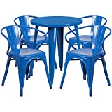 Flash Furniture 24'' Round Blue Metal Indoor-Outdoor Table Set with 4 Arm Chairs