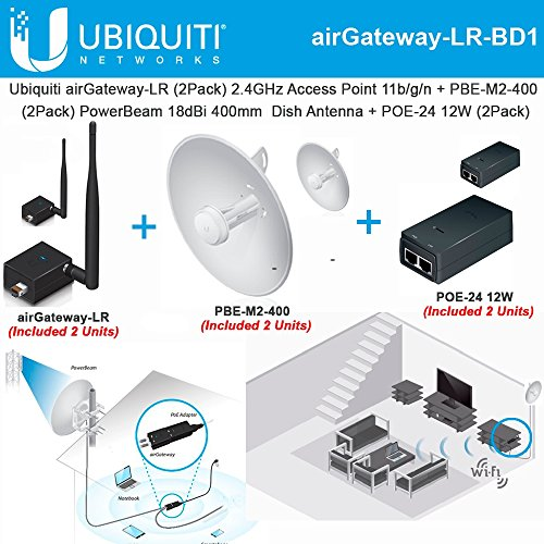 Ubiquiti airGateway-LR 2Pack 2.4GHz Access Point +PBE-M2-400 x2 PowerBeam 18dBi by Ubiquiti Networks