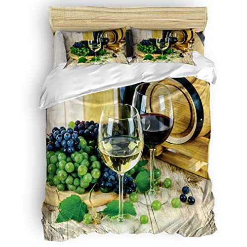 - Duvet Cover Sets, Liqueur Wine Glass and Fruit 4 Pieces Bedding Set - King Duvet Cover, Flat Sheet and Pillow Shams for Adult Teens Kids, Machine Washable