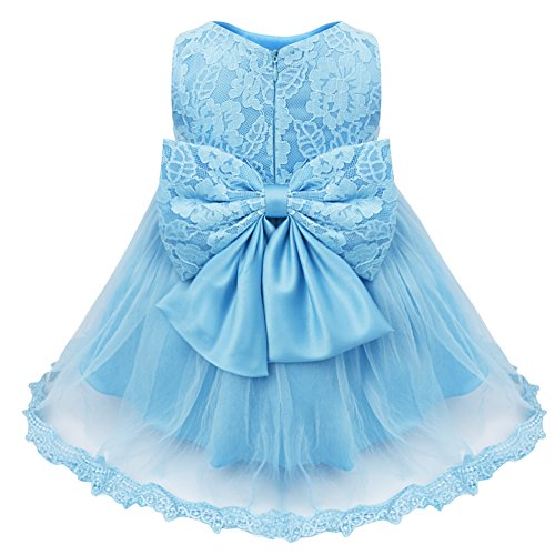 (TiaoBug Baby Girls Flower Wedding Pageant Princess Bowknot Communion Party Dress Blue(Lace) 3-6)