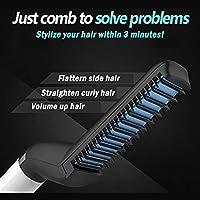 Zooarts Multifunctional Men's Quick Beard Straightener Curler Hair Comb